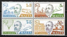 MALTE    -   1974 .   Y&T N° 492 à 495 **.   UPU  /  Henrich Von Stephan.  Série Complète - Malta