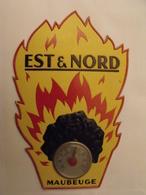 Est & Nord. Charbon. Maubeuge. Thermomètre. Carton Publicitaire Découpé Et En Relief. Abair Vers 1950-60 - Plaques En Carton