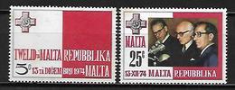 MALTE    -   1975 .   Y&T N° 501 / 502 **.   Proclamation De La République. - Malta