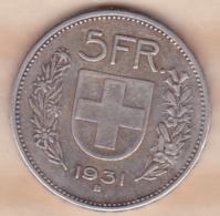 SUISSE. 5 Francs 1931 B , En Argent - Svizzera