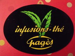 Infusion-thé Pagès. Carton Publicitaire Velours Marcel Jost Strasbourg Vers 1950-60 - Plaques En Carton
