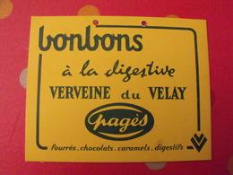Bonbons Verveine Du Velay Pagès. Carton Publicitaire, Sans Doute Marcel Jost Strasbourg Vers 1950-60 - Plaques En Carton