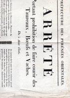 Arrêté Interdisant Les Courses De Taureaux,5 Août 1806, - Affiches