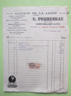 Facture Document Agence FORD GARAGE DE LA LOIRE, C.POMMEREAU à BONNY-SUR-LOIRE (45) Le 13/11/1931 - Timbre Fiscal à 50c - Automobile