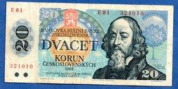 Tchécoslocaquie  --  20 Korun 1988 -    Pick  # 95 -  état  TB - Checoslovaquia