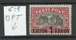 Estland Estonia 1930 Michel 87 E: 1 ERROR Variety Abart * - Estonia