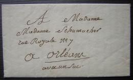 """Janville 1833 (Calvados) Lettre Par Porteur Avec La Mention : """"avec Un Sac"""" Pour Mme Schumacher à Orléans Voir Descr - Marcofilie (Brieven)"""