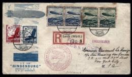POSTE AÉRIENNE PAR ZEPPELIN HINDENBURG 1936- 1er  VOYAGE ALLER AMERIQUE NORD- USA- N.Y.- 6-5-36- 2 SCANS - Luchtpost