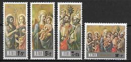 MALTE    -   1976 .   Y&T N° 533 à 536 **.  Noël.  Tableaux.    Série Complète - Malta