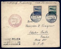 POSTE AÉRIENNE PAR ZEPPELIN HINDENBURG 1936- 1er VOYAGE ALLER AMERIQUE NORD USA- IDAHO- 2-5-36- 2 SCANS - Luftpost