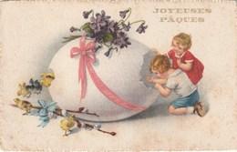 Carte Postale Ancienne Fantaisie Illustrée - Joyeuses Pâques - Oeuf - Violettes Poussins - Enfants - Pâques