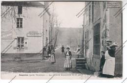 Exceptionnelle CPA ASQUINS (89) : La Recette Buraliste Et Le Pont (tabac, Boucher Avec Cuisseau Sur L'épaule) - France