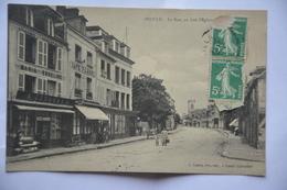 DOZULE-la Rue ,au Loin L'eglise-cafe Flanel-epicerie - France
