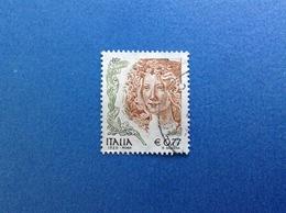 2002 ITALIA FRANCOBOLLO USATO STAMP USED - DONNE NELL'ARTE DONNA 0,77 - 2001-10: Used