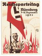 Propagandkarte Reichsparteitag 1934 Nürnberg Mit Passender Briefmarkenausgabe - Briefe U. Dokumente