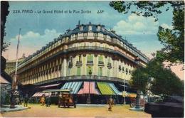 CPA DE PARIS IV. LE GRAND HÔTEL ET LA RUE SCRIBE - Cafés, Hotels, Restaurants