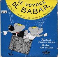 """François Perier 45t. EP """"le Voyage De Babar"""" - Enfants"""