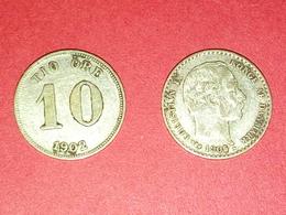 2 MONNAIES ARGENT TIO 10 ORE 1902 Et 10 ORE 1905 Christian IX, Roi De Danemark Non Nettoyé - Danemark