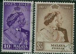 MALAYA(PERLIS) KGVI 1948 Silver Wedding SG 1-2 Used - Perlis
