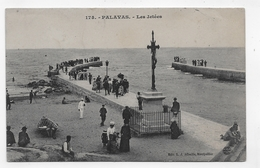 (RECTO / VERSO) PALAVAS EN 1908 - N° 178 - LES JETEES AVEC PERSONNAGES - BEAU CACHET - CPA VOYAGEE - Palavas Les Flots