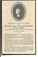 Carte Décès Madame Jules Maeckereel, Malo-les-Bains, 19 Février 1936. - Vieux Papiers