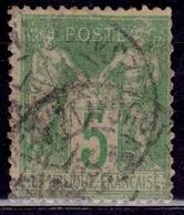 France 1876, Sage, 5c,type II, Sc#78, Used - 1876-1898 Sage (Type II)