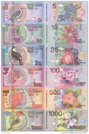 SURINAM SURINAME 5 10 25 100 500 1000 GULDEN 2000 Bird P 146 - 151  BIRD UNC - Surinam