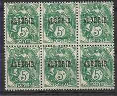 1924-25 ALGERIE 6** Blanc , Surchargé, Bloc De 6 - Ongebruikt