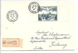 FRANCE Lettre Recommandée Du CONGRES POSTALE UNIVERSEL 1947 à Paris Avec Le Timbre PA De 500fr Edité Pour L'occasion - Postmark Collection (Covers)