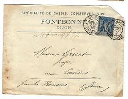CASSIS De DIJON - FONTBONNE  Bel Affranchissement. 16 Octobre 1896. - Publicités
