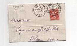 10c Rouge Semeuse Sur Lettre-facture 231207 - 1906-38 Säerin, Untergrund Glatt