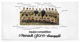 CARTE CYCLISME GROUPE TEAM RENAULT 1978 FORMAT 10,5 X 21 - Cyclisme