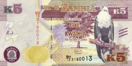 Zambia 5 Kwacha, P-57 (2015) - UNC - Zambie