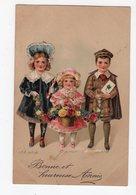 950 - BONNE ANNEE - Trois Enfants  * En Relief * - Nouvel An