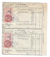 TIMBRES FISCAUX....Contributions Indirectes De 1944. Service Des Eaux..TIMBRE FISCAL 2 FRANCS.. Oblitérés R M - Fiscaux