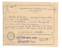 DOCUMENT De 1959.. Déclaration De CESSATION De COMMERCE Pour Cause De Décès.. Matelassier à DOMFRONT (61) - Historical Documents