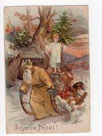 152 - JOYEUX NOËL  - Père Noël Tirant Son Traineau Rempli De Cadeaux  * En Relief * - Nouvel An