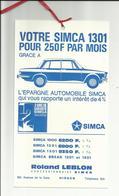 Publicité Auto /voiture Simca  1301  Hirson 02500 En 1967 - Publicités