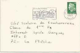 24 Heures Du Mans  Lettre Avec Flamme 14-15 Juin 1969 - Cars