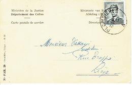 1959 - Carte Postale De Service - Ministère De La Justice - Département Des Cultes - Fabrique D'Eglise De PLOMBIERES - Plombières