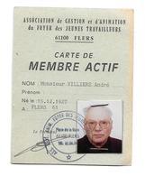 DOCUMENT De 1990...CARTE De MEMBRE ACTIF Association Du Foyer Des Jeunes Travailleurs à FLERS (61)..2 Scans - Historical Documents