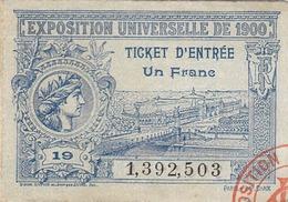 Ticket Entree Exposition Universelle De 1900 N°19 (LOT AE 23) - Tickets D'entrée