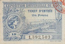Ticket Entree Exposition Universelle De 1900 N°18 (LOT AE 23) - Tickets D'entrée