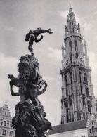 """28-Antwerpen-Toren Van De Hoofdkerk En """"Brabo""""-Anvers-Tour De La Cathédrale Et """"Brabo""""-Beeldh. : Jef Lambeaux - Antwerpen"""