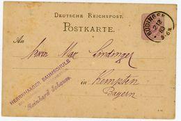 """BÜDINGEN"" Klarer K 1 Postkarte 1883 Nach Kempten - Germany"