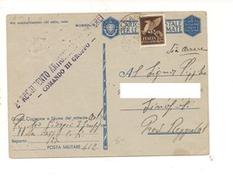2856) FRANCHIGIA AEREA POSTA MILITARE 412 26-7-1943 X SINOPOLI REGGIO CALABRIA - Storia Postale