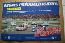 AFFICHE  24 Heures Du Mans AUTO 1996 Essais Préqualificatifs (Envoi En Tube Postal) - Voitures (Courses)