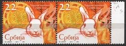 2011  - Serbia- Lunar Horoscoppe - RABBIT - Used Pair - Konijnen