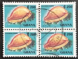 Ghana 1991 Definitive Block Of Four  USED - Ghana (1957-...)