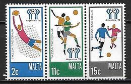 MALTE    -   1978 .   Y&T N° 566 à 568 **.   FOOTBALL.    Série Complète - Malta